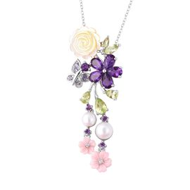 Jardin Collection - Yellow and Pink Mother of Pearl, Freshwater Pearl and Multi Gemstone Butterfly F