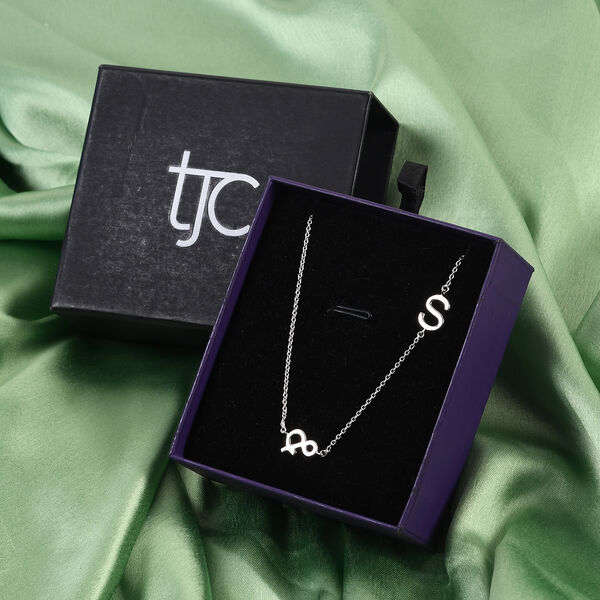 Personalised Single Alphabet + &, Name Necklace in Silver, Size 18+2 Inch