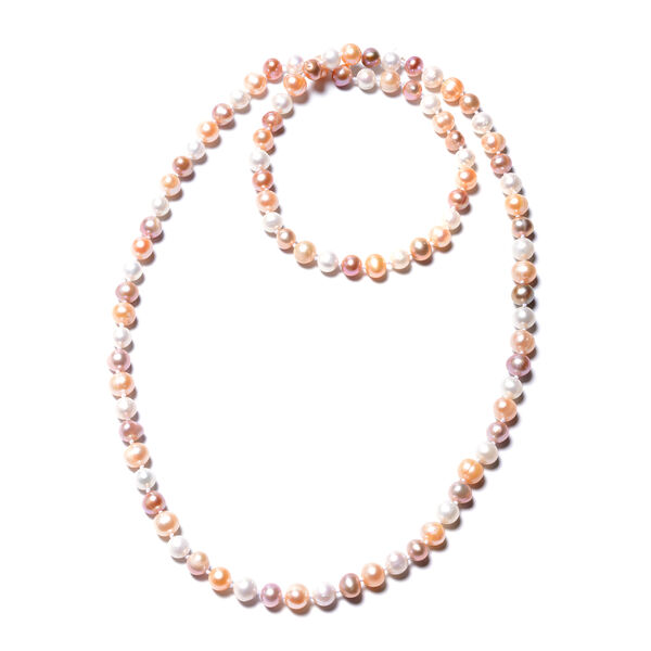 Multi Colour Freshwater Pearl Beaded Necklace 30 Inch