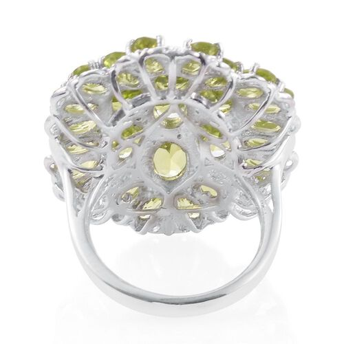 Hebei Peridot (Ovl) Cluster Ring in Platinum Overlay Sterling Silver 11.000 Ct. Silver wt 7.20 Gms.