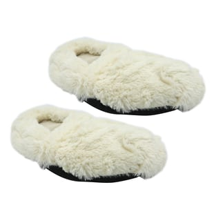 Mircowavebale Heated White Slippers filled with Natural Wheat Grains and Lavender Scent (One size, 6-10)