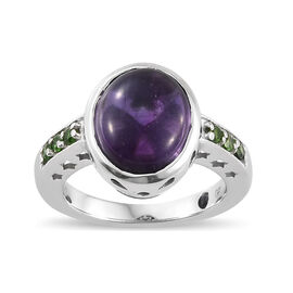 GP Amethyst (Ovl 5.00 Ct), Russian Diopside and Kanchanaburi Blue Sapphire Ring in Platinum Overlay Sterling Silver 5.250 Ct.