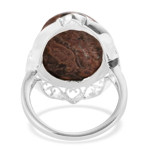 One Time Deal- Picture Jasper (Ovl 18x13 mm) Ring in Sterling Silver 9.250 Ct.