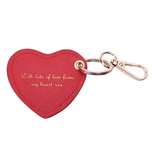 Christmas Edition 100% Genuine Leather Alphabet Red Heart Handbag Charm/Key Chain - B