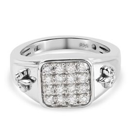 Moissanite Ring in Platinum Overlay Sterling Silver, Silver Wt. 5.80 Gms