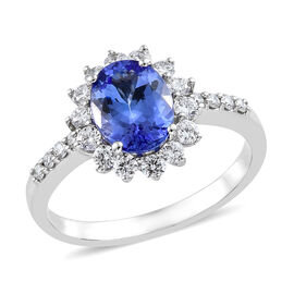 Signature Collection- 950 Platinum Tanzanite (Ovl 9x7mm, 1.90 Ct) and Diamond (Rnd, 0.600 Ct, VS/E-F