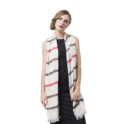 Italian Designer Inspired-100% Wool Off White, Red and Multi Colour Stripes Pattern Scarf with Fringes (Size 200x90 Cm)
