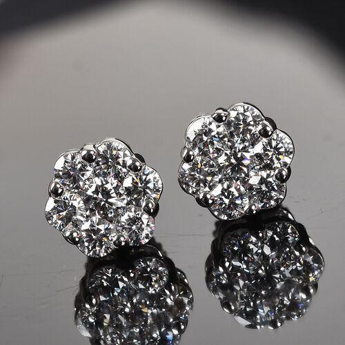 RHAPSODY 950 Platinum IGI Certified Diamond (VS/E-F) Floral Stud Earrings (with Screw Back) 1.00 Ct.