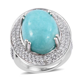 12.5 Ct Peruian Amazonite and Natural Cambodian Zircon Halo Ring in Sterling Silver 6.6 Grams