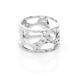 RACHEL GALLEY Rhodium Overlay Sterling Silver Molten Band Ring, Silver wt 5.39 Gms.