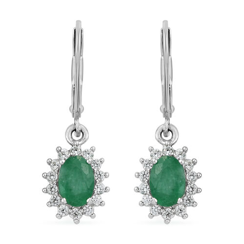 1.03 Ct Emerald and Cambodian Zircon Halo Earrings in Platinum Plated Sterling Silver Lever Back