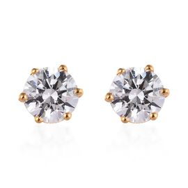 J Francis - 14K Gold Overlay Sterling Silver (Round 6.5mm) Solitaire Stud Earrings Made with SWAROVS