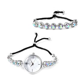 2 Piece Set - J Francis Crystal from Swarovski - Magic Colour Crystal (Rnd) GENOA Japanese Movement