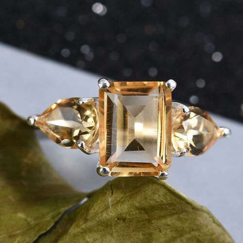 Citrine Three Stone Ring in Sterling Silver 2.80 Ct.
