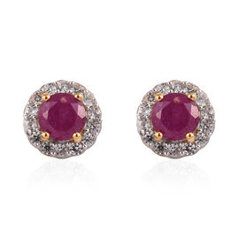 African Ruby  and Natural Cambodian Zircon Halo Earrings (with Push Back) in 14K Gold Overlay Sterli
