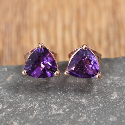 AA Amethyst Stud Earrings (with Push Back) in Rose Gold Overlay Sterling Silver 1.250 Ct.