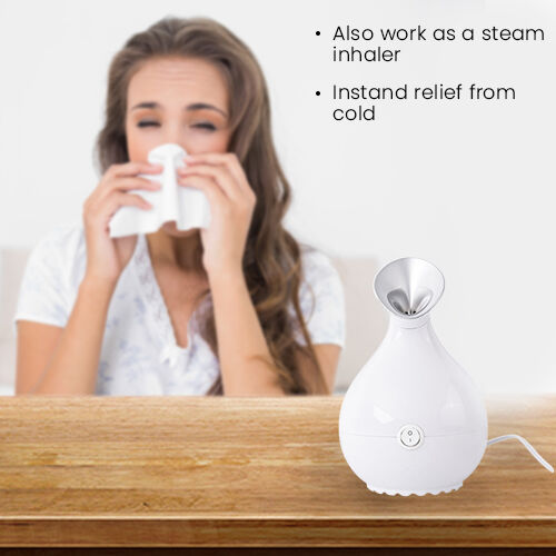 Facial Steamer with One-Click Start/Stop in White