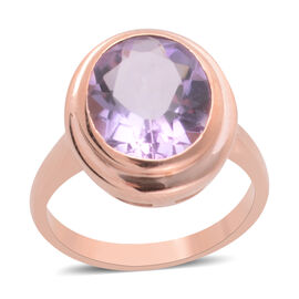 3.19 Ct Rose De France Amethyst Solitaire Ring in Rose Gold Plated Sterling Silver