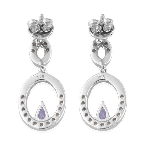 AA Tanzanite and Natural Cambodian Zircon Dangle Earrings in Platinum Overlay Sterling Silver 1.25 Ct.