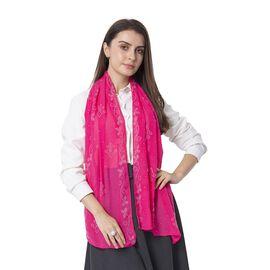 Pink Colour Floral Pattern Crystal Embellished Scarf (Size 80.01x 48.26 Cm)