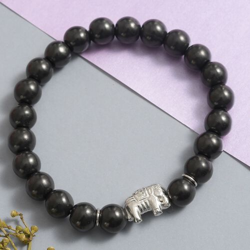 Shungite Stretchable Elephant Beads Bracelet (Size 7.5) in Rhodium Overlay Sterling Silver 115.69 Ct.