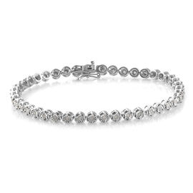 Diamond Platinum Overlay Sterling Silver Bracelet (Size 7.5)  0.500  Ct.