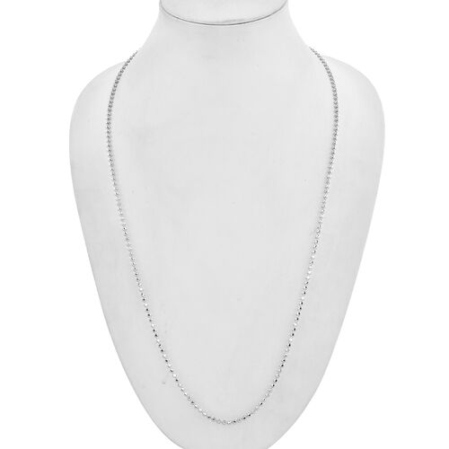 9K White Gold Diamond Cut Ball Necklace (Size 22), Gold wt 10.05 Gms