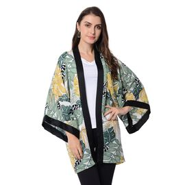 Designer Inspired-Green and Yellow Colour Turtle Leaf Pattern Jacket (Size 80x75 Cm)