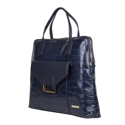 Bulaggi Collection - Cynthia Croco Print Laptop Bag with Slip Pocket at Front (40x31x06cm) - Dark Blue