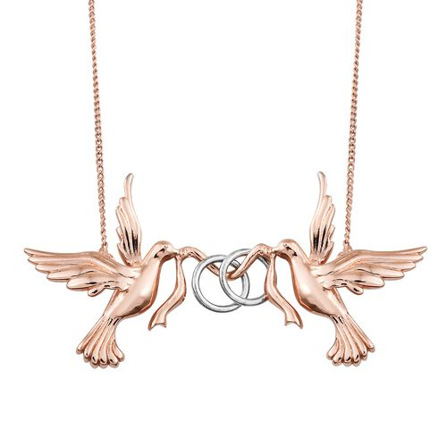 Platinum and Rose Gold Overlay Sterling Silver Twin Birds Necklace (Size 18) with Chain, Silver wt 5.40 Gms.