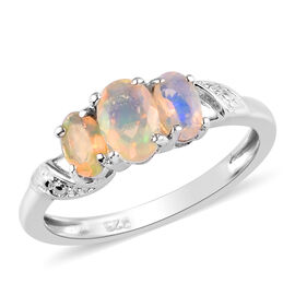 AA Ethiopian Welo Opal Ring in Platinum Overlay Sterling Silver 0.60 Ct.