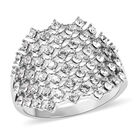 Designer Inspired- Made with SWAROVSKI CRYSTAL (Rnd) Cluster Ring (Size Q) in Silver Plated