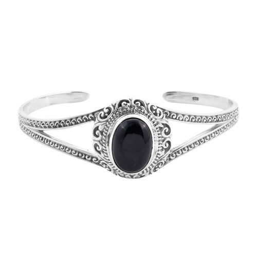 Royal Bali Collection - Black Jade Cuff Bangle (Size 7.5) in Sterling Silver 13.85 Ct, Silver wt 21.