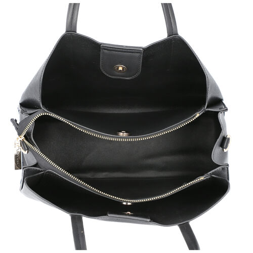 LOCK SOUL Handbag with Detachable and Adjustable Shoulder Strap (Size 31x13x23 Cm) - Black