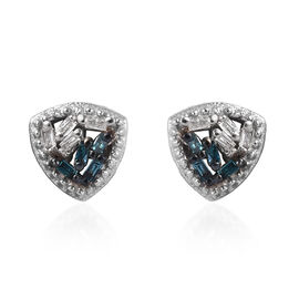 Blue and White Diamond (Bgt) Earrings (with Push Back) in Platinum Overlay Sterling Silver 0.05 Ct.