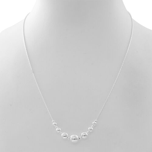 Thai Designer Inspired-Sterling Thai Silver Ball Necklace (Size 20 with 2 inch Extender), Silver wt 8.50 Gms.