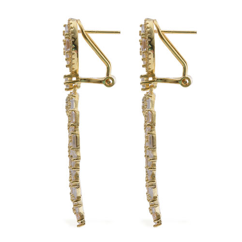 ELANZA Simulated White Diamond (Rnd) Earrings (with French Clip) in 14K Gold Overlay Sterling Silver, Silver wt 11.38 Gms.
