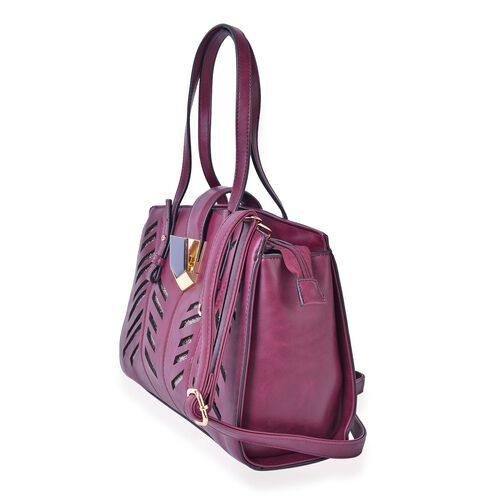 Classic Burgundy Metallic City Tote Bag with External Pocket and Adjustable Shoulder Strap (Size 34x24.5x13 Cm)