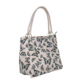 Pink Colour Butterfly Pattern Extra Large Tote  Handbag (Size 37x34x20 Cm)