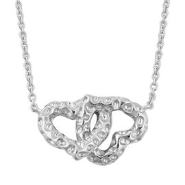 RACHEL GALLEY Rhodium Overlay Sterling Silver Heart Necklace (Size 18), Silver wt 9.72 Gms