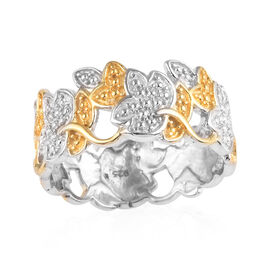 Designer Inspired- Yellow Diamond Leaf Design Band Ring in Platinum and Yellow Gold Overlay Sterling