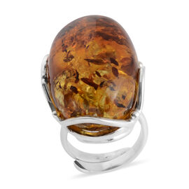 Baltic Amber Solitaire Ring in Sterling Silver 8 Grams
