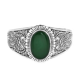 Royal Bali 37.98 Ct Green Jade Cuff Bangle in Sterling Silver 31.65 Grams 7.5 Inch