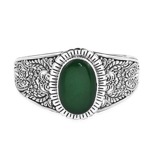 Royal Bali 37.98 Ct Green Jade Cuff Bangle in Sterling Silver 31.65 Grams 7.5 Inch
