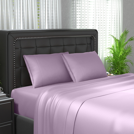 Serenity Night 4 Piece Set 100% Bamboo Sheet Set Including 1 Flat Sheet 1 Fitted Sheet and 2 Pillowcases in Lavender