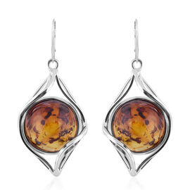 Natural Baltic Amber Lever Back Earrings in Sterling Silver, Silver wt 17.60 Gms