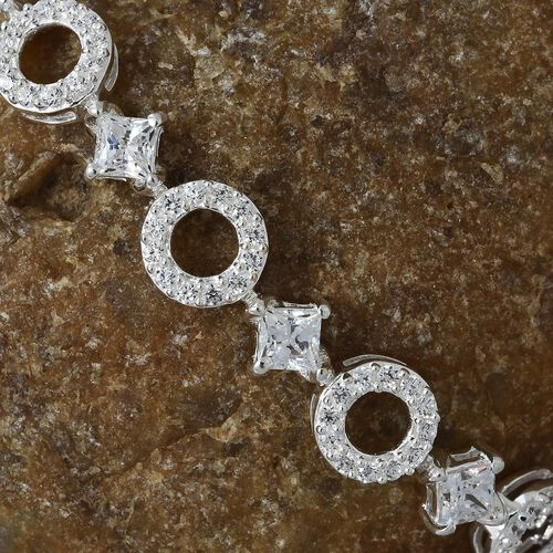 J Francis - Sterling Silver (Sqr and Rnd) Bracelet (Size 7.5) Made with SWAROVSKI ZIRCONIA, Silver wt 12.97 Gms