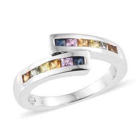 Multi Gem Stone Platinum Overlay Sterling Silver Bypass Ring  0.750  Ct.