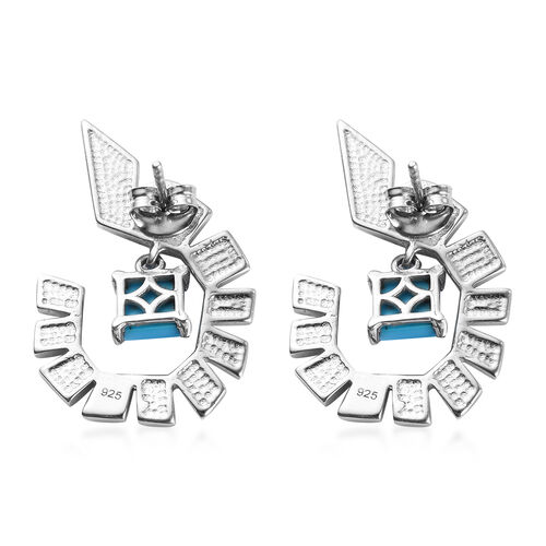Arizona Sleeping Beauty Turquoise Enamelled Earrings (with Push Back) in Platinum Overlay Sterling Silver 1.50 Ct, Silver wt 5.86 Gms