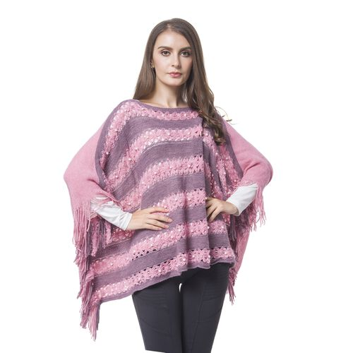 Simulated Pearl Embellished Pink And Grey Colour Knitted